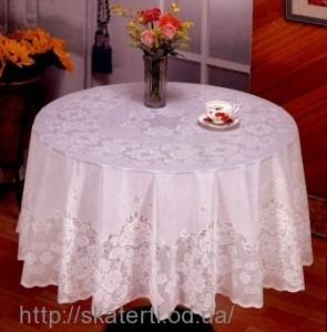 Скатерть виниловая белая круг180см(111)