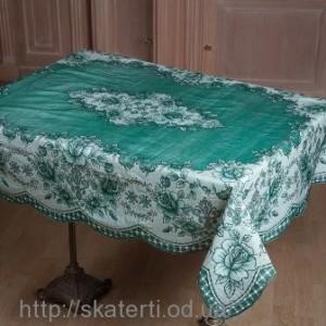 Зеленая скатерть на стол  110х140см(102/9)