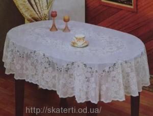 Скатерть виниловая белая 135х180см.овал(112)
