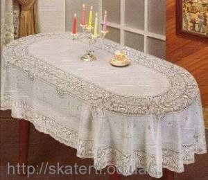 Скатерть виниловая белая 150х230см.овал(113)