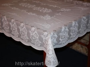 Скатерть виниловая белая 110х140см(102)
