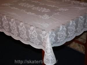 Скатерть виниловая белая  120х150см(103)