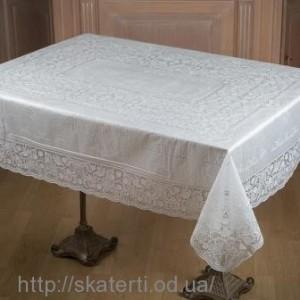 Белая скатерть виниловая 150х230см(107)