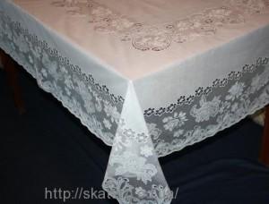 Скатерть виниловая белая 150х230см(107/3)