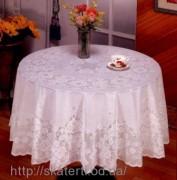 Скатерть виниловая белая круг150см(110)