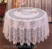 Скатерть виниловая ажурная круг 180см(208)