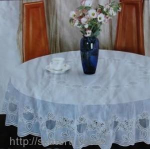 Скатерть виниловая белая круг180см(111/3)