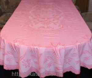 Скатерть розовая 150х230см.овал(113/6)