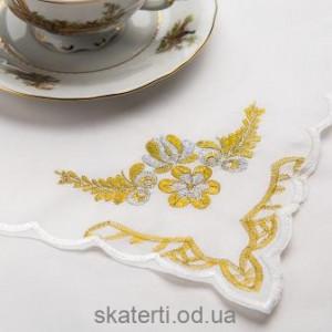 Скатерть белая с салфетками 150х220см(550/24)