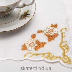 Скатерть белая с салфетками 150х220см(550/29)